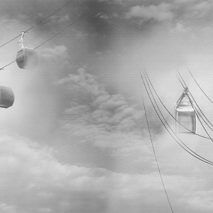 Ropeway covered with clouds