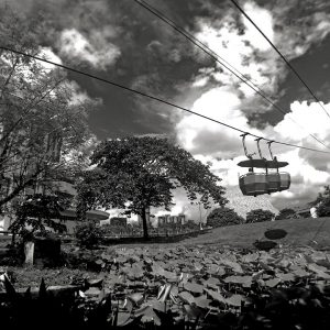 Black and White image of Science city Ropeway
